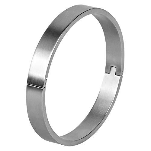 (LOGAGA Black White Bracelet Polished Stainless Steel Cuff Bangle Bracelet Jewelry Gift for Men Boys Simple 8MM Wide Design )