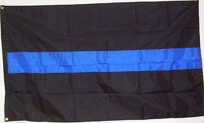 3x5 FT Deluxe Thin Blue Line Police Flag Fully Sewn Stripes SolarMax Nylon WindStrong® Reinforced Corners Black Finished Header American Made+Premium Grade™