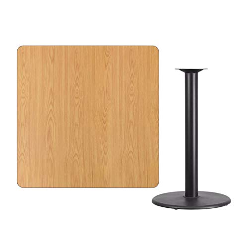 Offex 42'' Square Natural Laminate Table Top with 24'' Round Bar Height Table Base