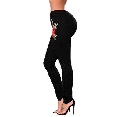 Pantalon Color Otprdirect Noir en Hot XXXL Femmes Denim Vente Black Black Trou brod Size XRzXq