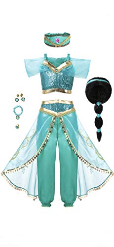 Arabian Princess Girls Costume Outfit, Wig and Jewelry Set, 5. ()