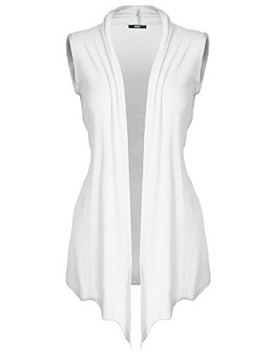 DRSKIN WS02-1 Women's Open - Front Sleeveless Knit Cardigan (WS02-1 White, 2XL) (Sleeve Knit Cardigan Short)