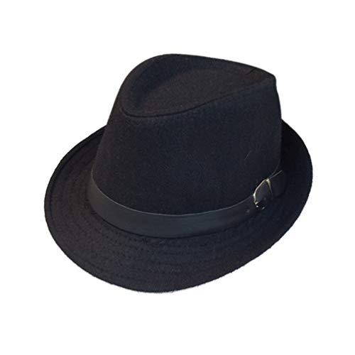 (EachEver Kid Boys Fedora Hat Jazz Cap Cotton Photography Trilby Top Sun Hats Black 2)