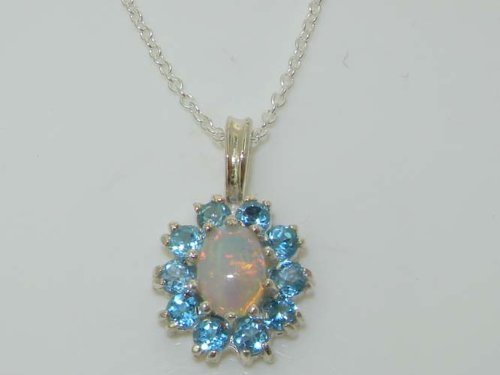 Ladies Solid 925 Sterling Silver Ornate Natural Opal Blue Topaz Oval Pendant Necklace