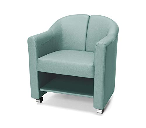 Оfm Mobile Club Chair, Aqua Eco Leather Club Chair