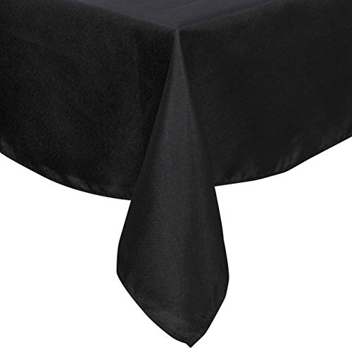 Lightweight Square Tablecloth Polyester Table Linen - Stain Resistant Washes Easily Great for Halloween Thanksgiving Christmas Family Dinner Wedding Parties Restaurant Banquet (BLACK, Square 90