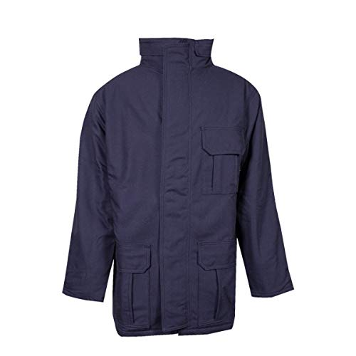National Safety Apparel Large Navy UltraSoft Duck Flame Resistant Parka With Quilted Lining And Zipper Closure by NATIONAL SAFETY APPAREL INC (Image #1)