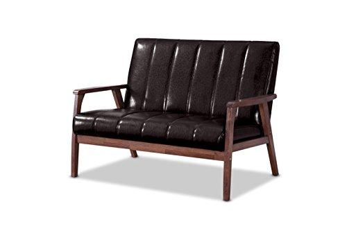 Baxton Studio Nikko Mid-Century Modern Scandinavian Style Dark Brown Faux Leather Wooden 2-Seater Loveseat (Cheap $100 Under Loveseats)