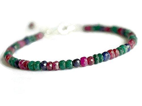 (JP_Beads Ruby, Sapphire and Emerald Bracelet, Gold Filled Precious Bracelet, Stackable Bracelet, Genuine Gemstone Jewelry 3.5 mm)