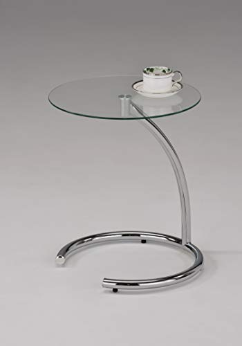 Kings Brand Chrome with Glass Modern Accent Side End Table Contemporary Glass Side Table