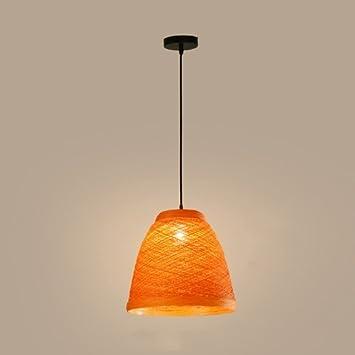 FXING Lámpara Colgante de Techo Rattan Coloridos candelabros ...