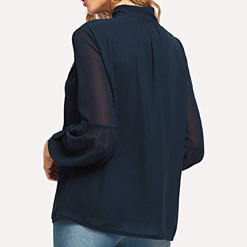 Col Arc Lache Blouse Cravate Femme V Longues Soie Chemisier de en Casual Bureau lgante Top Bleu Manches Classique Habiller Chic Femme Bow Affaires Mousseline Tunique Chemise z0Bwxf