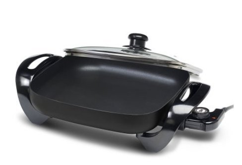 Electric Skillet with Glass Lid Extra Large 12'' x 12'' Black