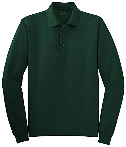 Joe's USA - Mens Size Large Long Sleeve Polo Shirts in 10 Colors Dark - Long Polo Sleeve Heavyweight Shirt