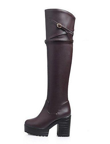 XZZ  Damen-Stiefel-Kleid     Lässig-Kunstleder-Blockabsatz-Plateau   Rundeschuh   Modische Stiefel-Schwarz   Braun d8e1d9