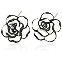 Fashion Elegant Cute Lady Grils Simple Black & White Rose Flower Stud Earrings ERAWAN