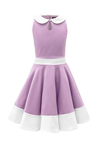 Black Butterfly Clothing BlackButterfly Kids 'Zoey' Vintage Clarity 50's Girls Dress (Lilac, 7-8 yrs)