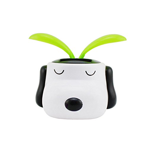 YOURNELO Creative Dog Solar Energy Bobblehead Toy Car Accessories/Dashboard Decoration (White dog) by YOURNELO