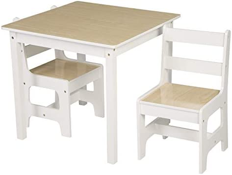eSituro Children Table and Chair Sets Wooden Kids Playing Desk with 2 Chairs White Colour