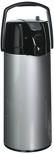 Zojirushi AASB-22BSV Premier Air Pot Beverage Dispenser, 2.2 Liters, Silver, Made in Japan