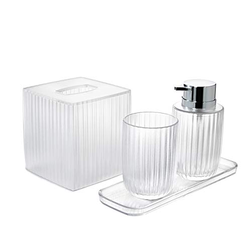 Decozen Set of 4 Pcs Bathroom Accessories Set Vienne Collection Clear Color Vertical Strip Pattern with Tumbler Lotion Dispenser Square Tray Tissue Box Decor Accessory Set - Special Set Price
