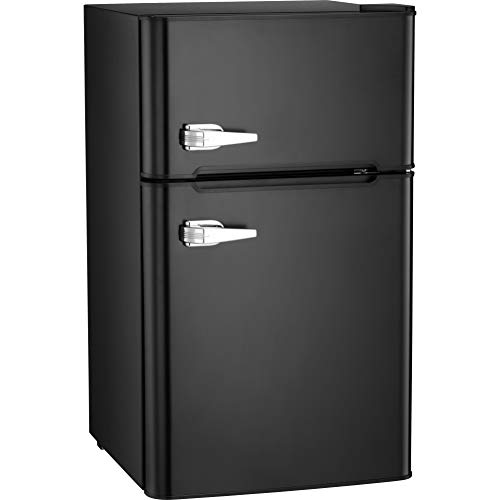 Antarctic Star Compact Mini Refrigerator Reversible Freezer, Small Fridge Double Door Adjustable Removable Stainless Steel Shelves Basement/Dorm/Office 3.3 cu ft Black