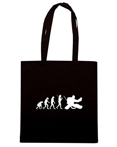 T-Shirtshock - Bolsa para la compra OLDENG00687 the evolution of the hockey goalie Negro