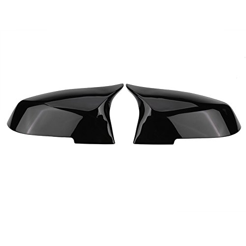 2Pcs Abs Mirror Cover,Keenso Side Door Mirror Housing Cover, Exterior Parts Rearview mirror Cover Fit for BMW 220i 328i 420i F20 F21 F22 F30 F32 F33 F36 X1 E84(Glossy Black)