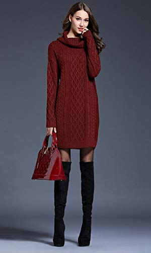 Sweater Turtleneck Knitting Dress Loog Knee Dress Women Knit AiseBeau Sleeve Burgundy q5tgw