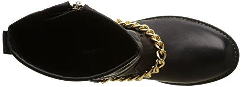Sopily - Zapatillas de Moda Botines Cavalier Low boots A medio muslo mujer Cadena Cremallera Talón Tacón ancho 3 CM - plantilla sintética - forradas en piel - Negro