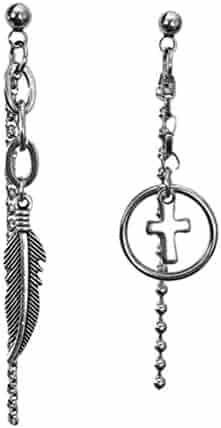 8820f549f Cshopping 2 Stud Punk Earrings, Feather & Cross Earrings, Stainless Steel  Circle Tassel Drop