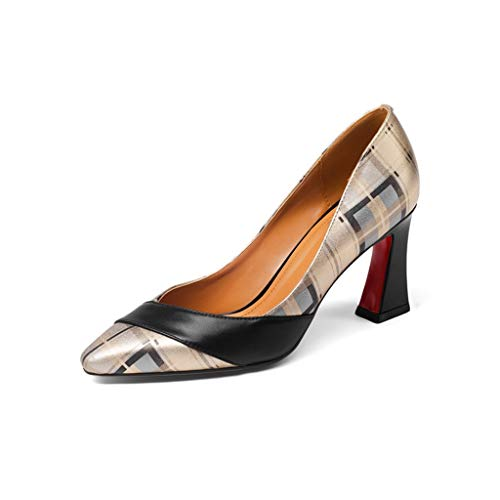 Size Heel Female Work Large Shoes Four Matching High Dress Thick Seasons With Color Small Commuter Leather Single Pointed VMUzpqS