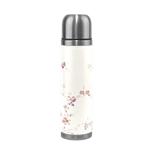 TSWEETHOME Vacuum Insulated Water Bottle Double Wall Stainless Steel Leak Proof Wide Mouth with Novelty Graphic Fresh and Elegant Floral Compact Bottle Beverage Bottle