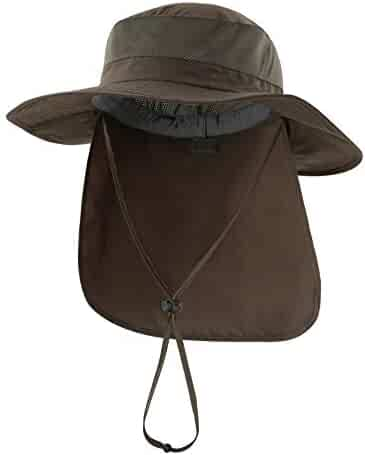 90dfa953 Home Prefer Outdoor UPF50+ Mesh Sun Hat Wide Brim Fishing Hat with Neck Flap