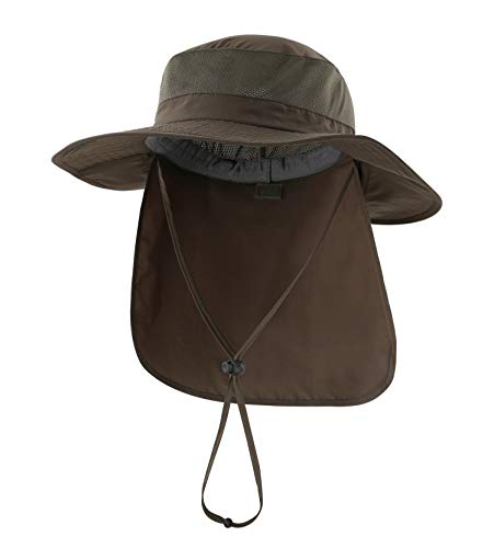 Home Prefer Outdoor UPF50+ Mesh Sun Hat Wide Brim Fishing Hat with Neck Flap (Army - Ultimate Sun Hat