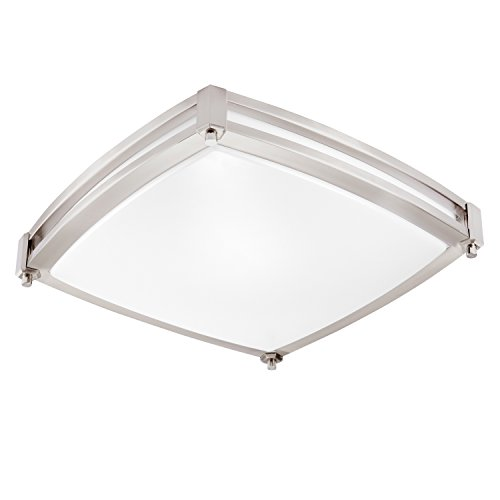 - GetInLight LED Flush Mount Ceiling Light, 16-Inch, 25W(125W Equivalent), Brushed Nickel Finish, 4000K(Bright White), Dimmable, Square, Dry Location Rated, ETL Listed, IN-0317-3-SN-40