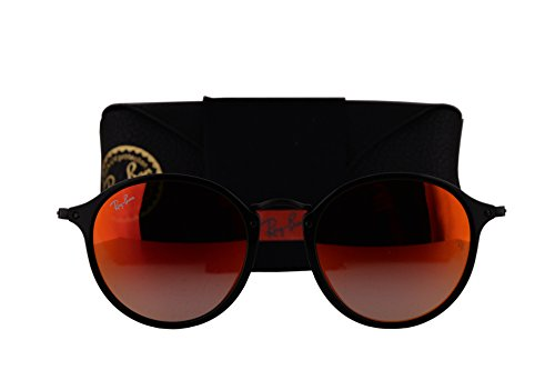 Ray-Ban RB2447 Sunglasses Shiny Black w/Mirror Gradient Red Lens 9014W RB ()