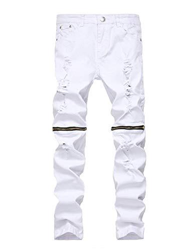 Denim Pantaloni Strech Ragazzo Regolari Uomo Tinta Strappati Vintage White2 Skinny Casual Moda Jeans Da Unita wwanzqZxp