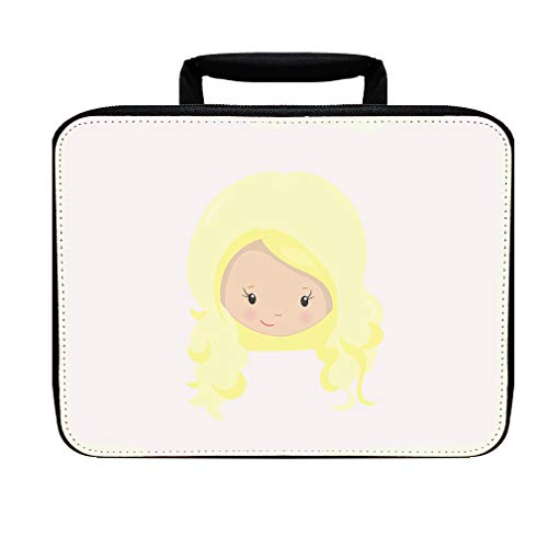 Paper Doll Blonde Curly Hair Nylon Insulated Lunch Box Food Bag