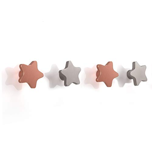 SDH Wall Hooks, Stars Theme, Heavy Duty, Modern, Garment Friendly, Matt Silver and Matt Pink Color, Pack in 4 Hooks ()