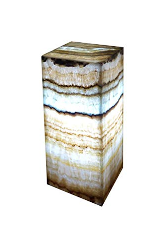 Exclusive: Rectangular handcrafted table lamp by OnyxArt in Mexican onyx marble (natural stone) in a rare ONYX