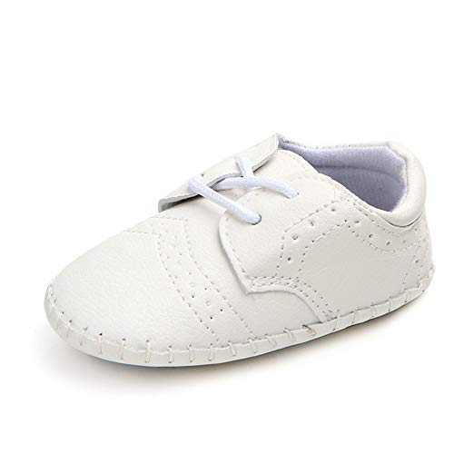 Meckior Newborn Baby Boys Classic Loafers Brogue PU Leather Wedding First Walking Shoes Infant Oxford Dress Shoes First Steps Walking Flat Toddler Crib Shoe(3-18 Months)(12-18 Months Toddler, C/white)