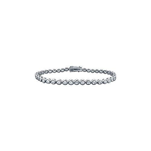 Platinum Diamond Bezel Set Tennis Bracelet 2 CT ()