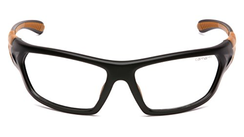 Carhartt Carbondale Safety Glasses with Clear Anti-fog Lens Black/Tan Frame, One Size