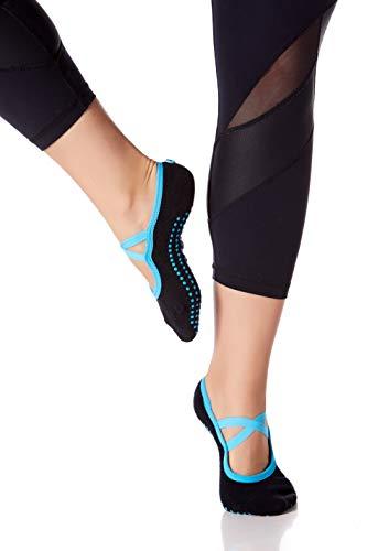 BeMo Yoga Socks with Button, Non Skid Socks with Grips, Barre Socks, Pilates Socks for Women (Blue)