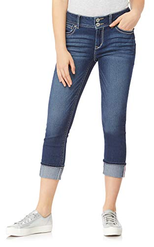 WallFlower Women's Juniors Insta Stretch Luscious Curvy Cuffed Crop Jeans in Chrystie, 5