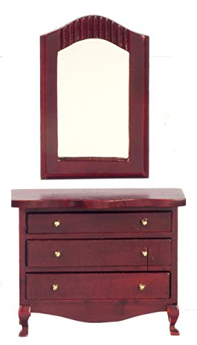 Melody Jane Dolls House Miniature Furniture Queen Ann Mahogany Chest of Drawers & Mirror
