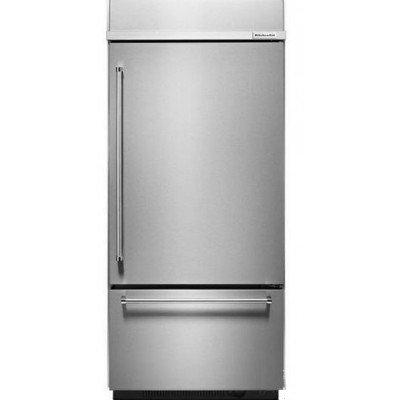 "KitchenAid® 20.9 Cu. Ft. 36"" Width Built-In Stainless Bottom Mount Refrigerator with Platinum Interior Design"