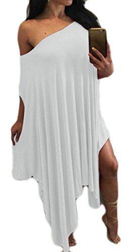 Femmes Domple Solide Un Manchon Shouler Batwing Robe Irrégulière Club Blanche Plissée
