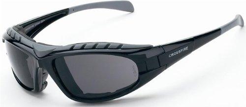 12 Pack Crossfire 2761AF Diamond Back Safety Glasses Smoke Anti-fog Lens - Shiny Black Frame, Foam Lined